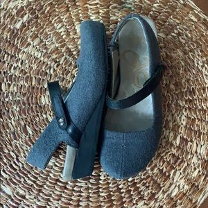 OTBT Leather/Wool Mary Jane Wedges